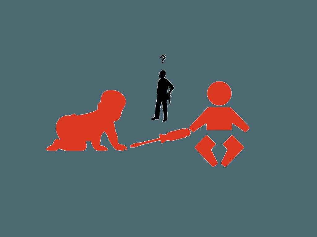 Bild mit zwei Babys und einem Mann und einem Schraubendreher