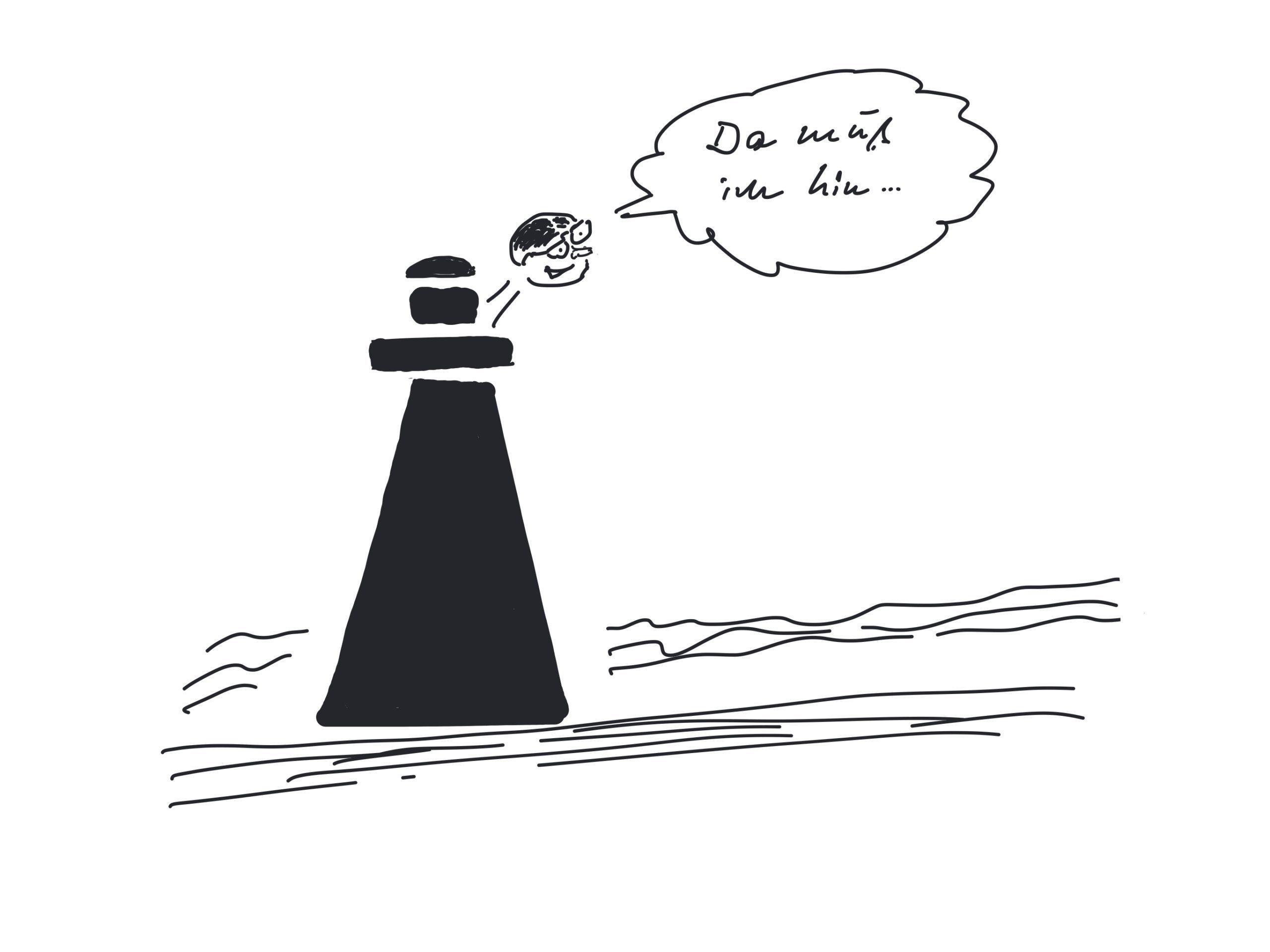 Zeichnung: Leutturm mit einem Mann, der hinausschaut